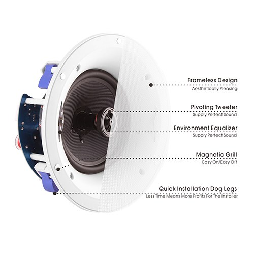 "6.5"" Pivoting Tweeter Frameless Polypropylene Ceiling Speaker"