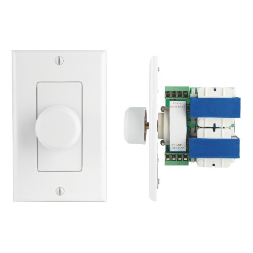 100W Flush In-Wall Speaker Volume Control Decorative Plate with Rotary Knob Style Adjustment
