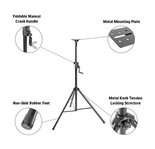 Heavy-Duty PA Speaker Tripod Stand with Folding Hand Crank