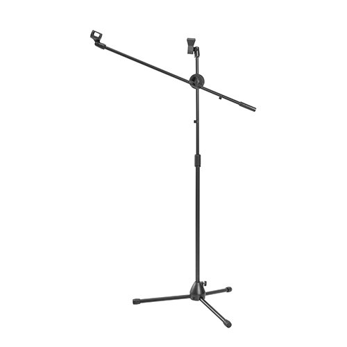 Economical 360° Rotatable Boom Microphone Tripod Stand with 2 Mic Clip Holders