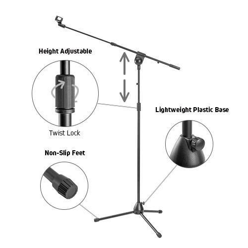 Telescopic Boom Microphone Tripod Stand