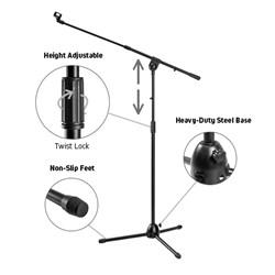 Heavy-Duty Telescopic Boom Microphone Tripod Stand