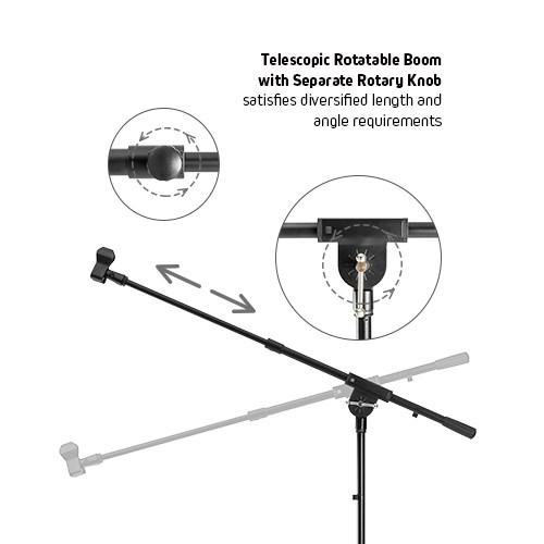 Premium Heavy-Duty Telescopic Boom Microphone Tripod Stand