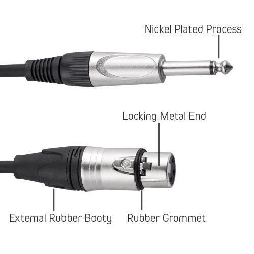 1M Microphone Cable - 3 Pin XLR Female to 6.3mm (1/4 Inch TS) Mono Male Plug