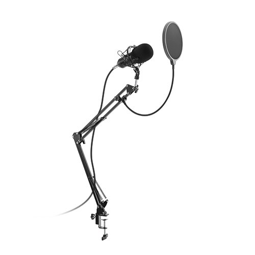 Condenser Microphone and Clamp-On Mic Boom Arm Stand Bundle