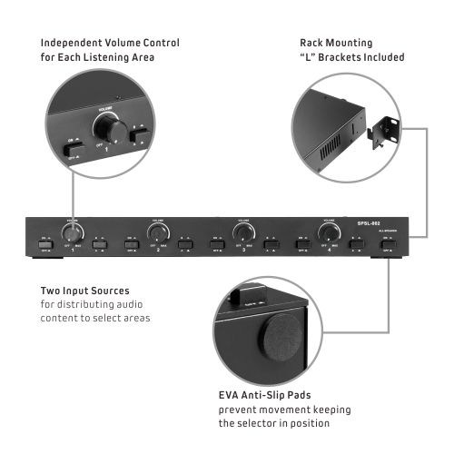 Impedance Matching 2 Source 4-Pair Speaker Selector with Volume Control
